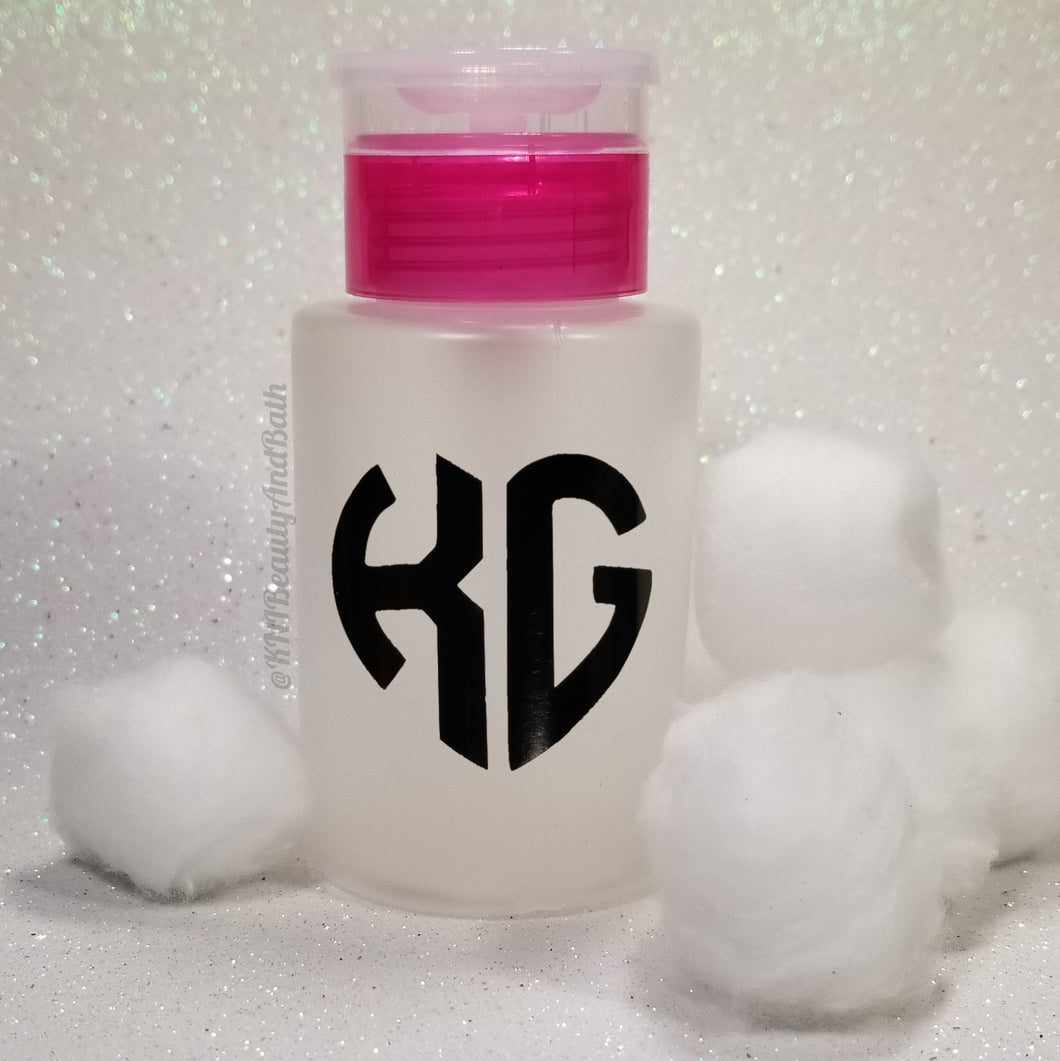 Ace-TONe of Love Pump Bottle || Pink Custom Initial Heart || Polish Remover Monogram Dispenser