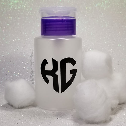 Ace-TONe of Love Pump Bottle || Purple Custom Initial Heart || Polish Remover Monogram Dispenser