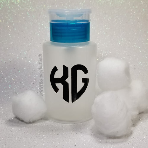 Ace-TONe of Love Pump Bottle || Teal Custom Initial Heart || Polish Remover Monogram Dispenser