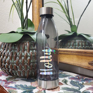 Hydrating Libation || Black with Custom Name || Water Bottle || Stainless Steel Lid & Base