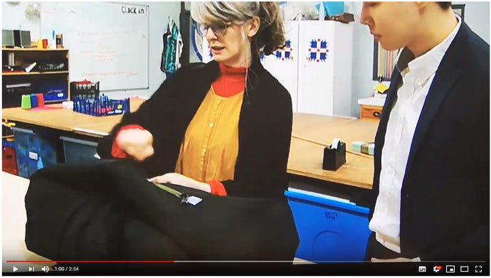 ROOF coat bag on S4C (Welsh speaking) news, April 2019