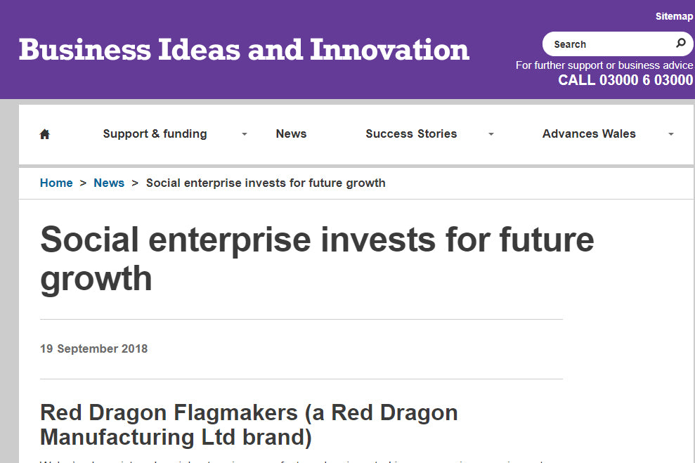SMART INNOVATION for social enterprise growth Red Dragon Flagmakers and ROOF coat bag Welsh Government