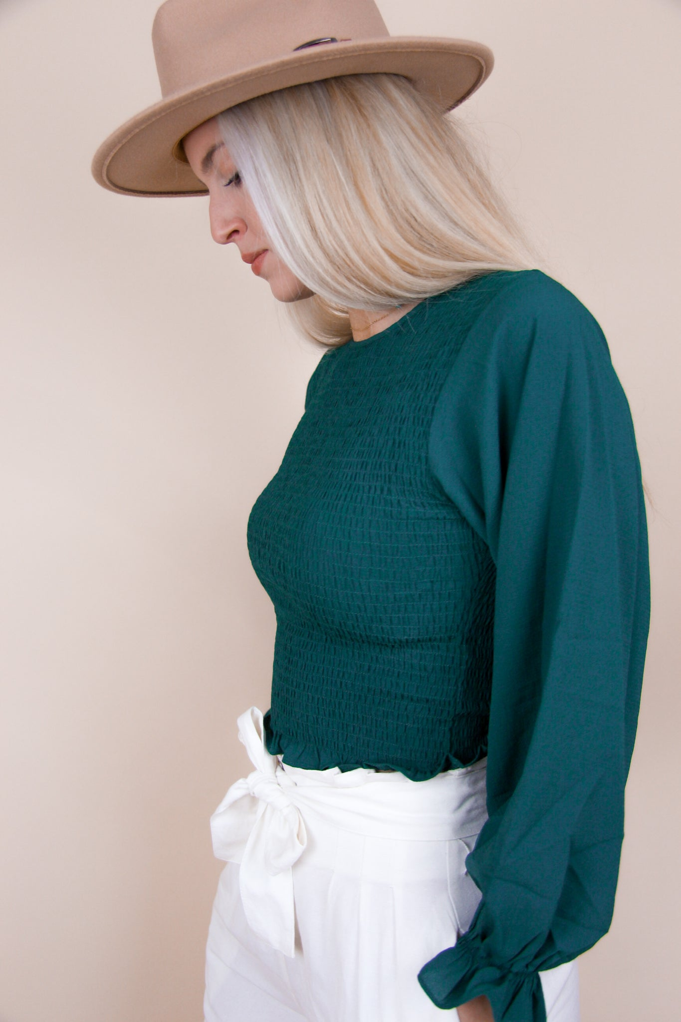 Smock Woven Crop Top - Sea Green