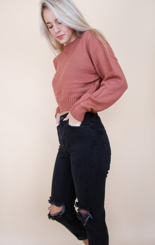 Cropped Knit Sweater - indie pink