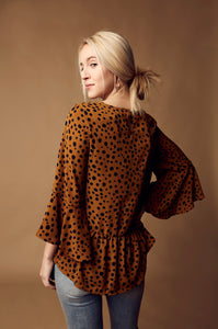 Cheetah Print Bell Sleeve Top - Brick