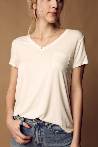 V-Neck Short Sleeve Top - Off White