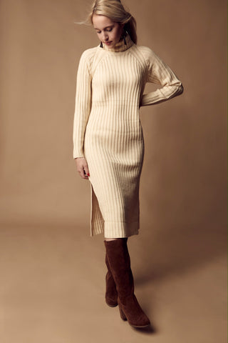 Turtle Neck Sweater Dress - Cream