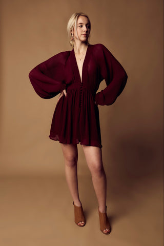 Chiffon Pleated Dress - Wine
