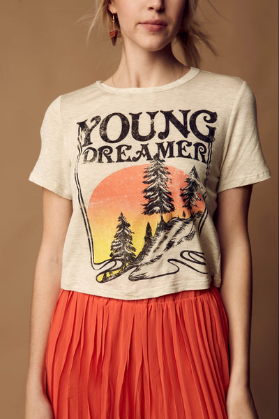 Young Dreamer Crop Tee - Oatmeal