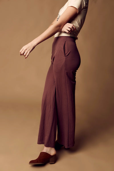 Wide Leg Trousers - Red Bean