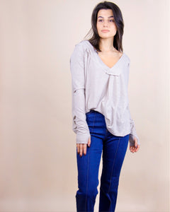 Relaxed Ribbed Knit Top - Stone
