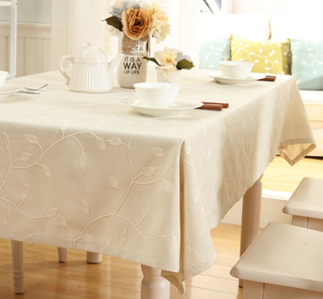 Cotton Linen Tablecloth Leaf Embroidered Table Cover for ...