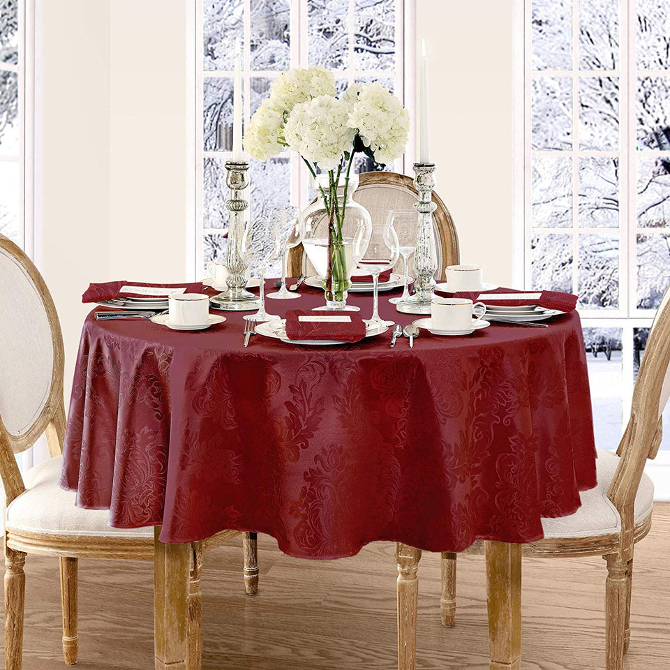 Stain Release Luxury Damask Fabric Tablecloth for a Round, Square or Oblong  Table