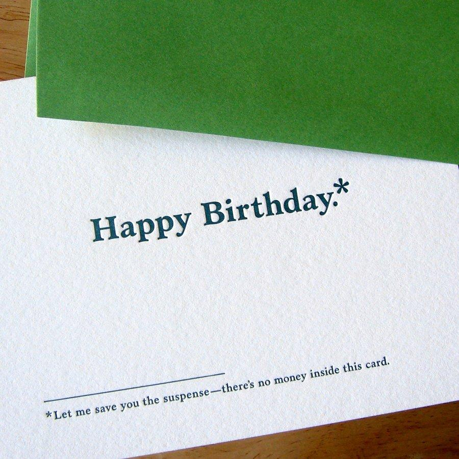 No Money In This Card Birthday Card