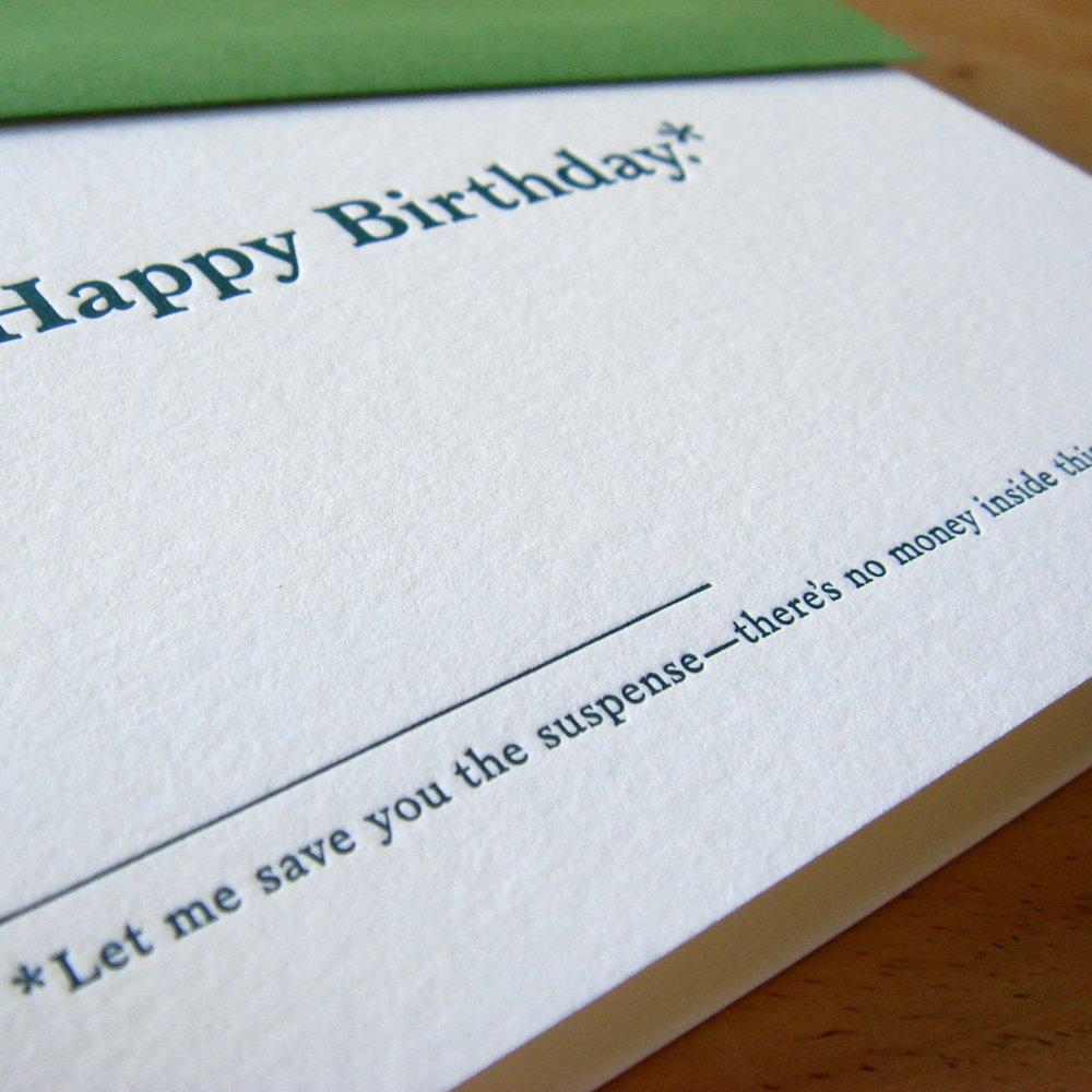 No Money In This Card Birthday