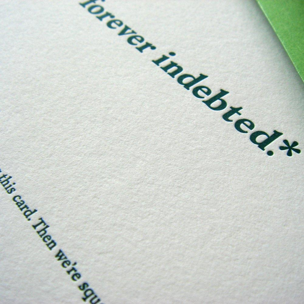 Forever Indebted Thank You Card