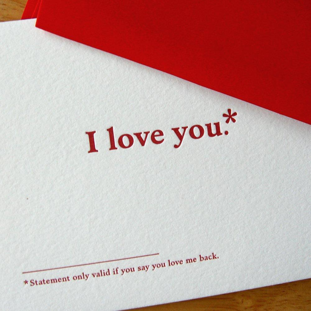 I love you footnote card