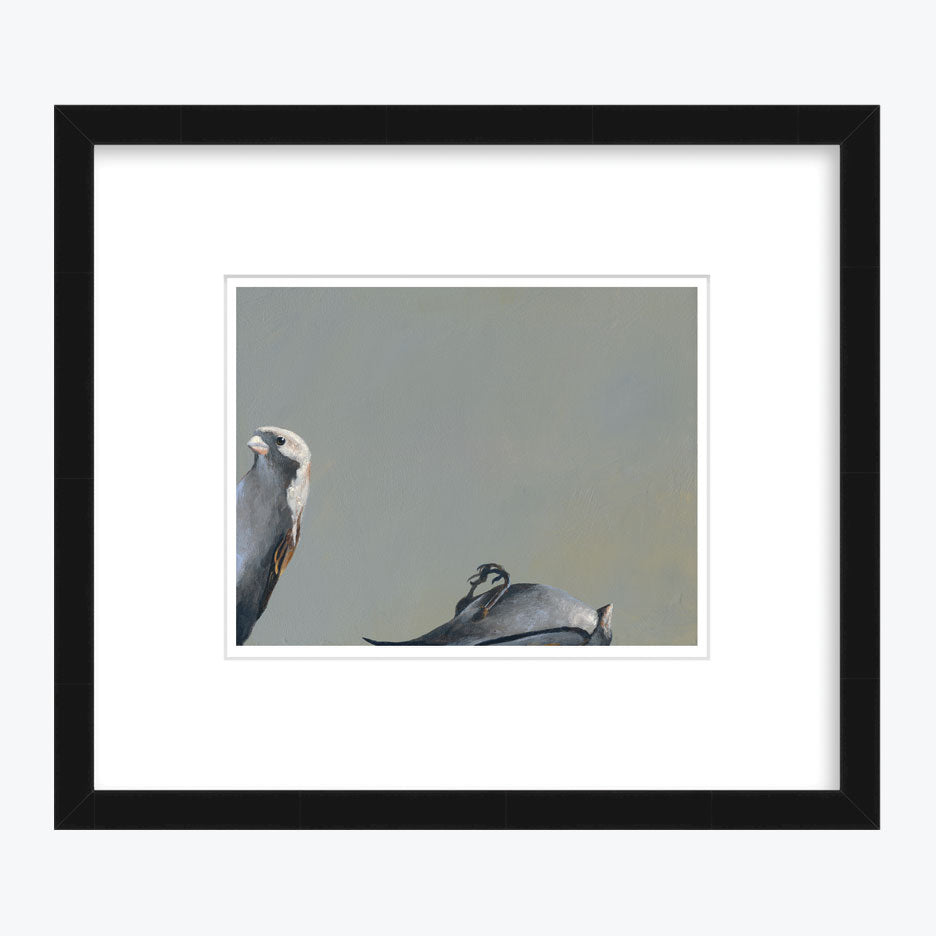 Alive Bird with Dead Bird Art Print with Black Frame
