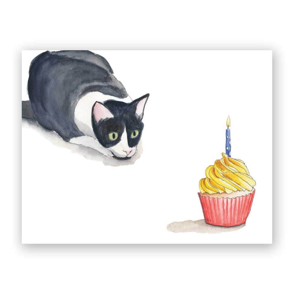 Cupcake Cat Birthday Card The Mincing Mockingbird The Frantic