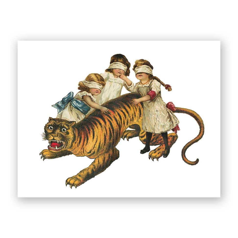 Children and Tiger Birthday Card