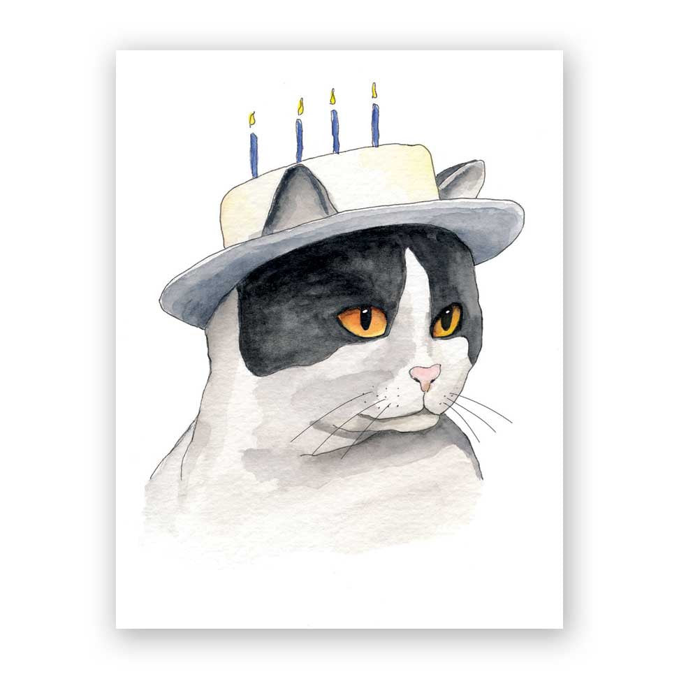 Cake Hat Cat Birthday Card