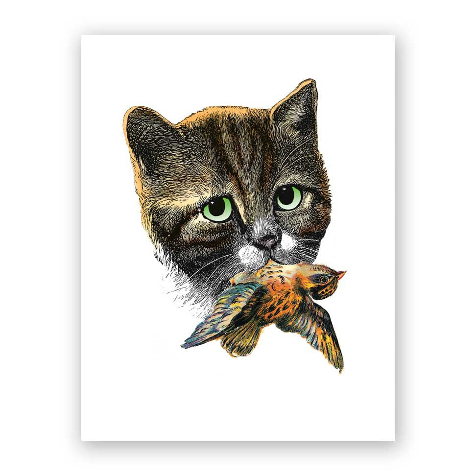 Cat and Bird Card