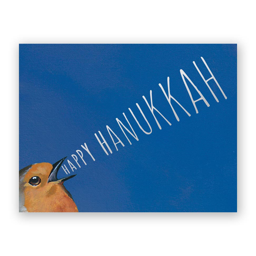 Happy Hanukkah Bird Yelling card