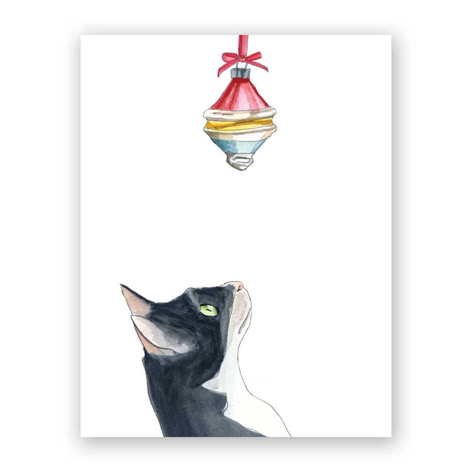 Cat & Ornament Holiday Card
