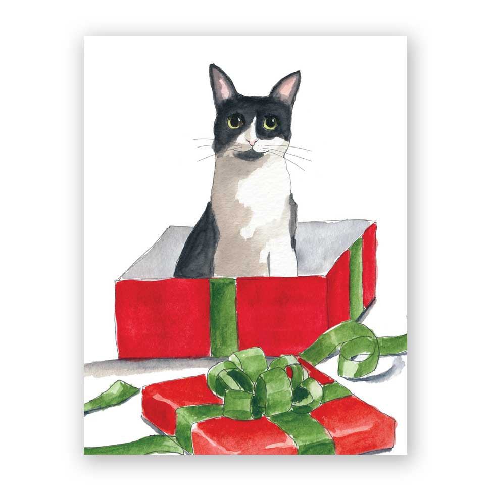 Cat in Holiday Box Card