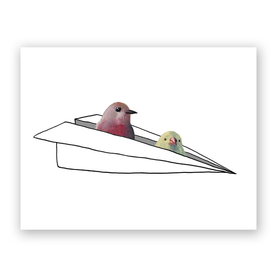 Two Birds in a Paper Airlplane Card