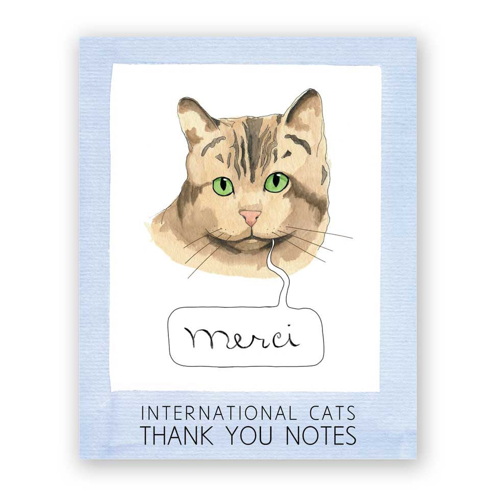 International Cat Thank You Card Set of 16
