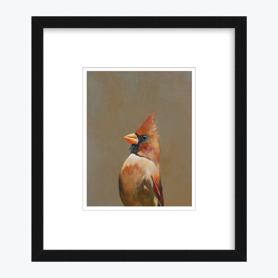 Cardinal Art Print with Black Frame