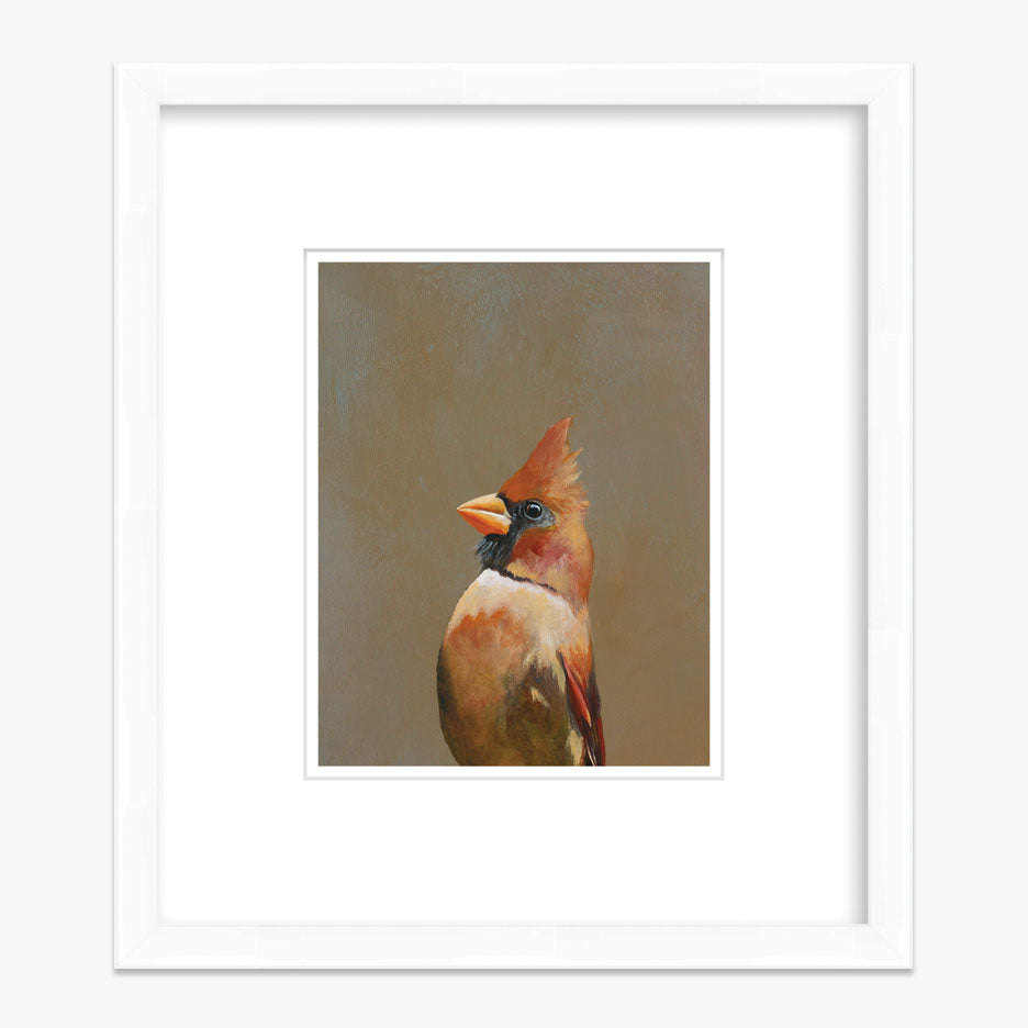 Cardinal Art Print with White Frame