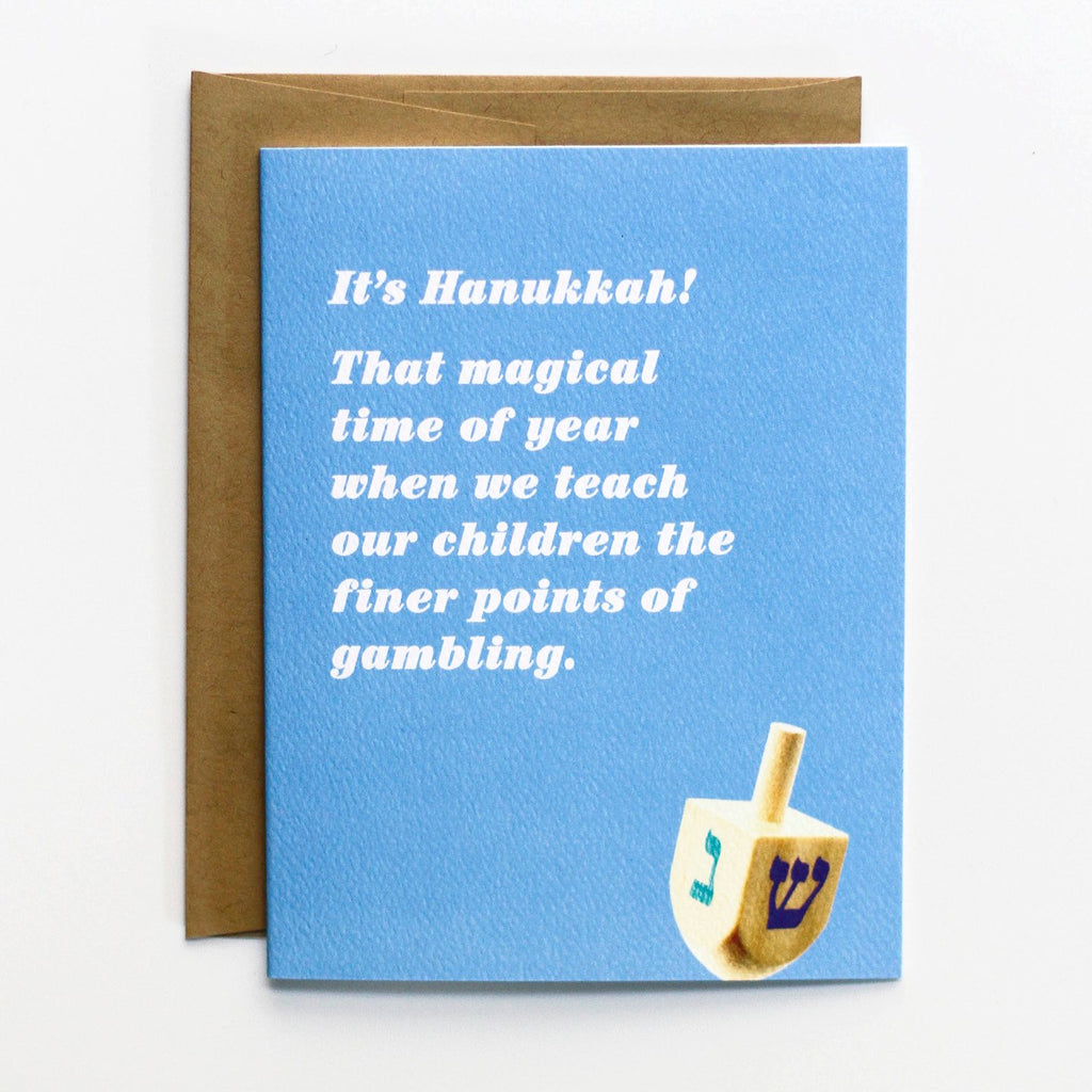 Gambling Hanukkah Card