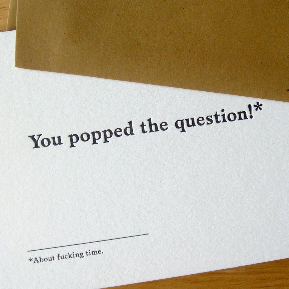You Popped The Question Wedding Card