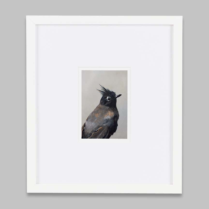 Black Bird Art Print with White Frame