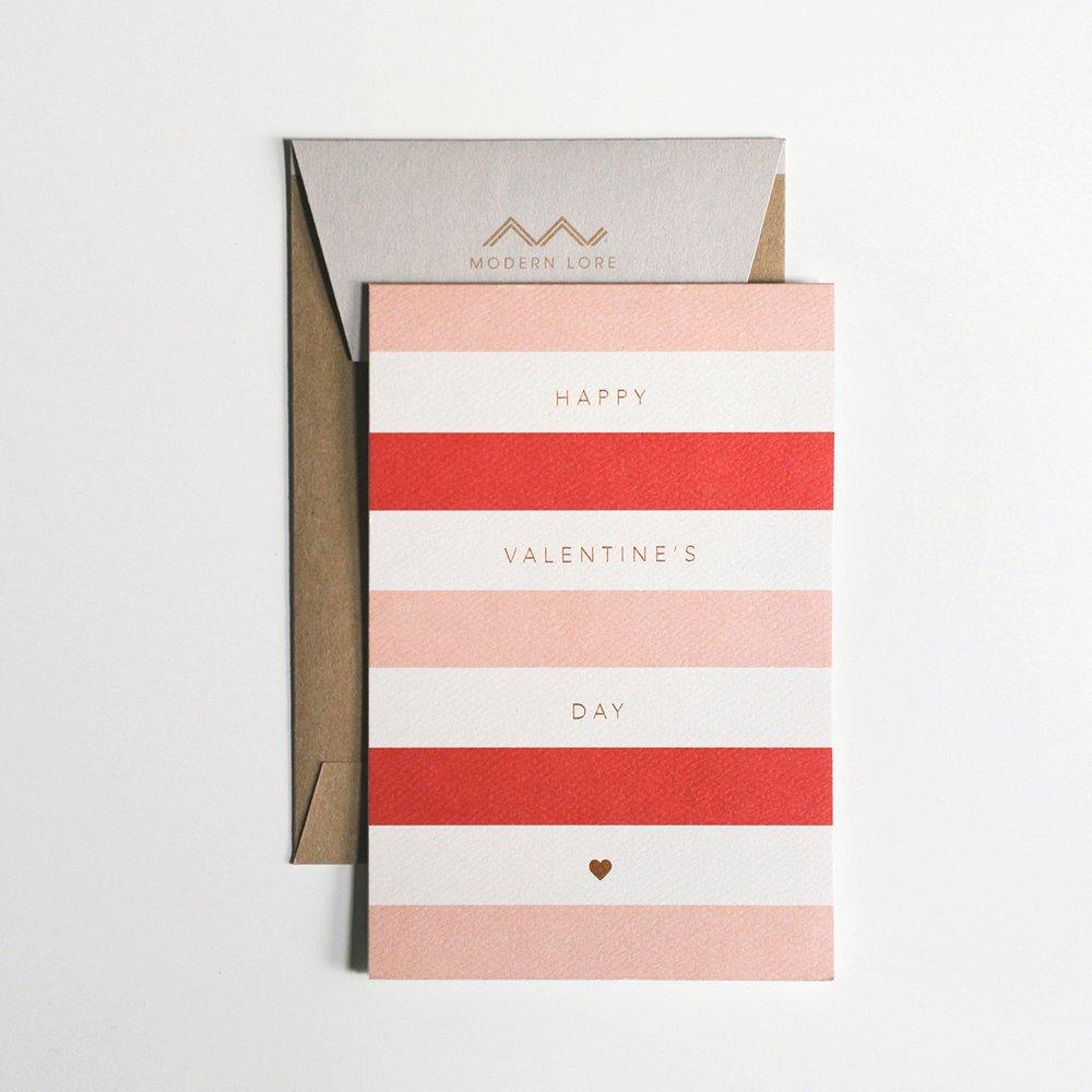 Happy Valentine's Day Stripes Card