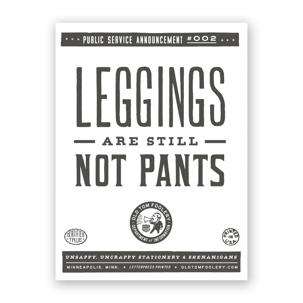 Leggings Are Not Pants Card