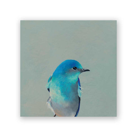 6 x 6 Panel - Blue Bird on Green Wings on Wood Decor