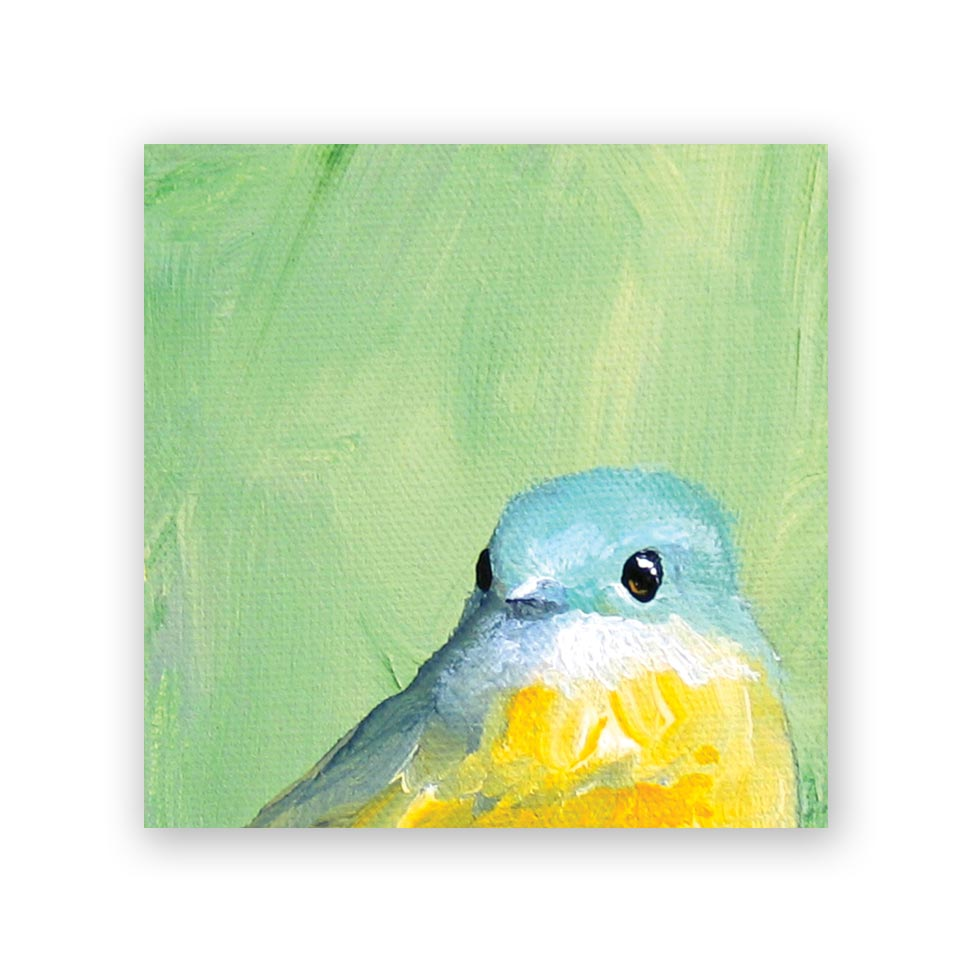 Yellow and Blue Bird Wood Panel