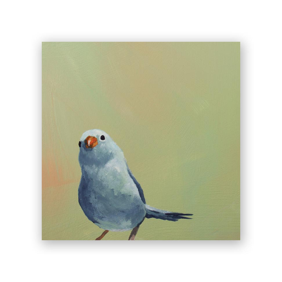 Blue Bird on Green Wood Panel