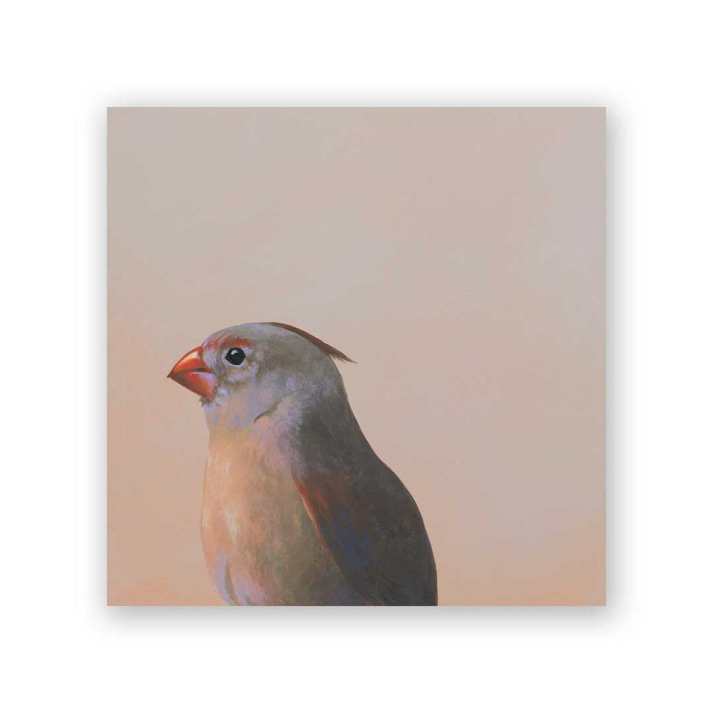 6 x 6 Panel - Female Cardinal Wings on Wood Decor