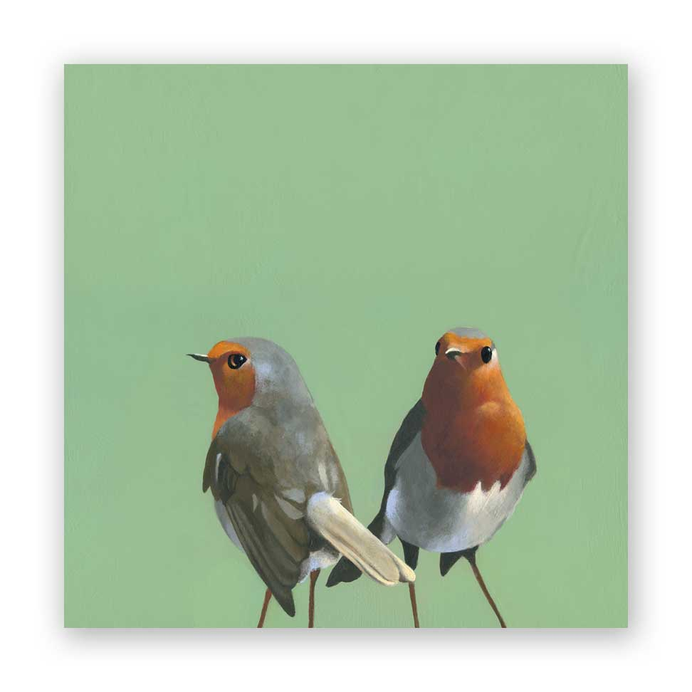 European Robin Pair Wood Panel