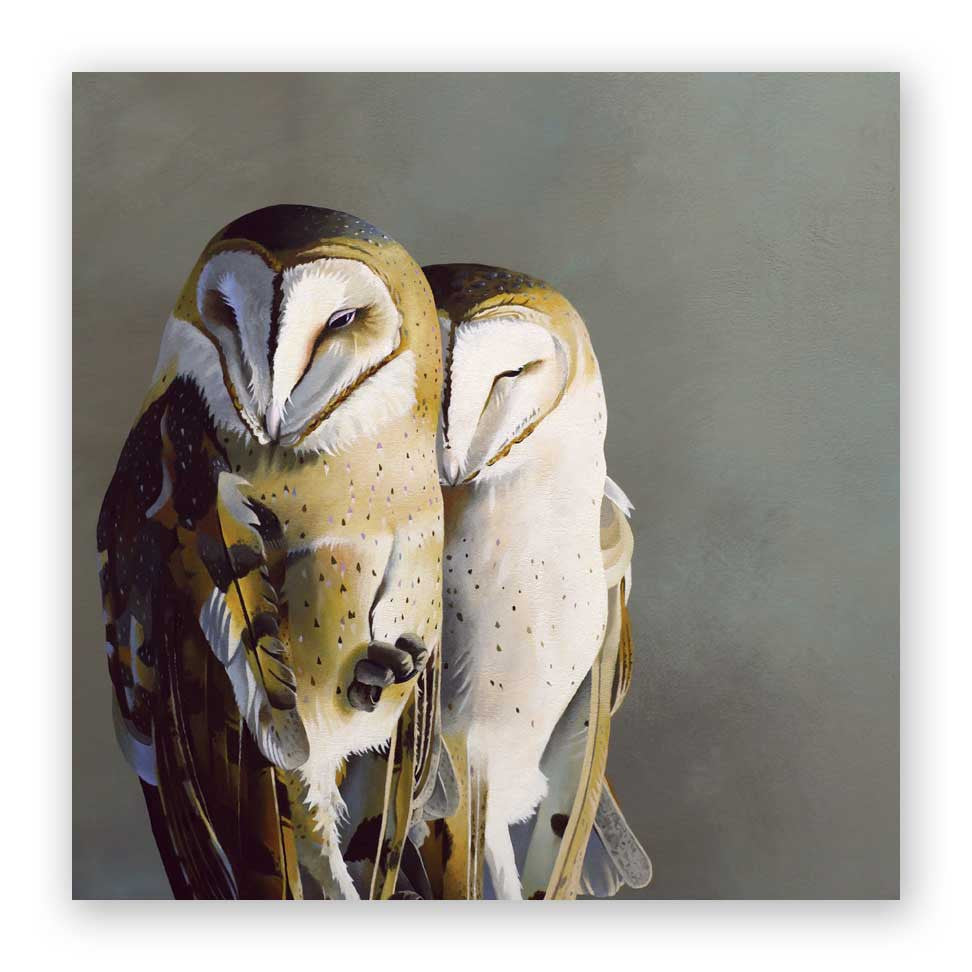 10 x 10 Barn Owl Pair Wings on Wood Decor