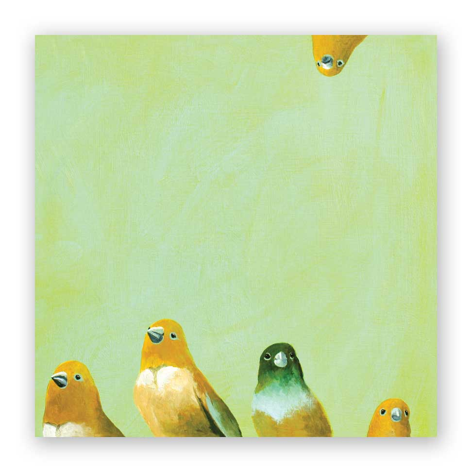 Finch Family Wings on Wood