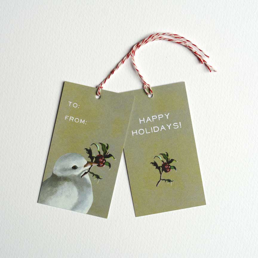 White Dove Holiday Gift Tag Set