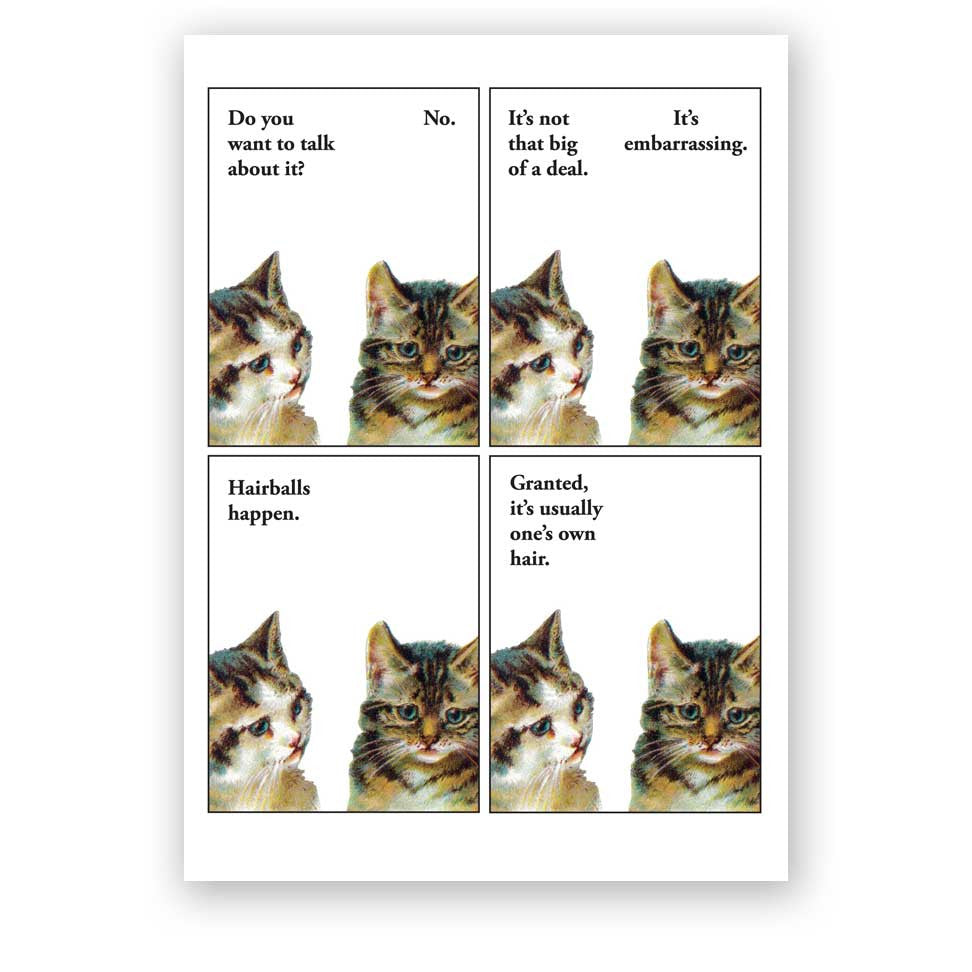 Hairball Cat Card
