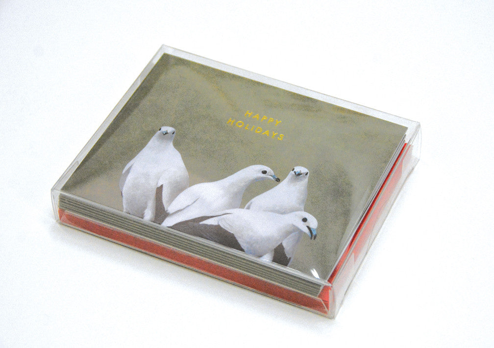 Four Doves Happy Holidays Card Box