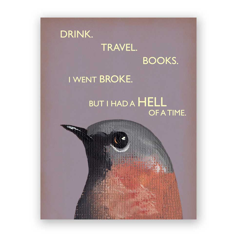 Drink. Travel. Books. Card