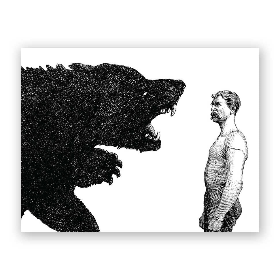 Man vs Bear Birthday Card